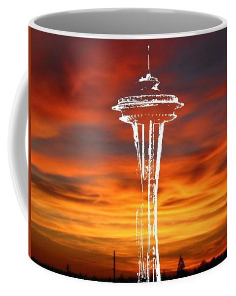 Seattle Coffee Mug featuring the digital art Needle Silhouette by Tim Allen