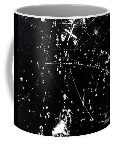Science Coffee Mug featuring the photograph Negative K Mesons, Bubble Chamber Event by Science Source