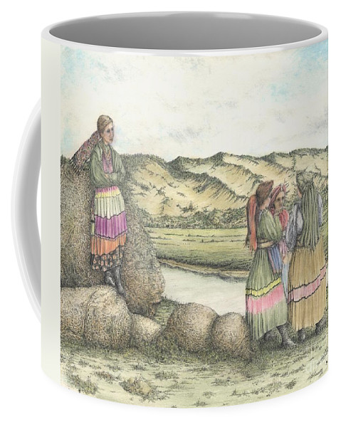 Drawing Coffee Mug featuring the mixed media Negotiations by Michael Stanford