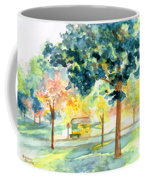 Bus Stop Coffee Mug featuring the painting Neighborhood Bus Stop by Andrew Gillette