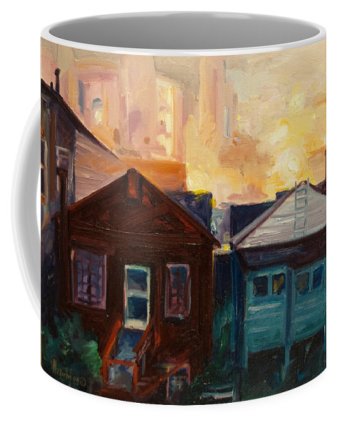 Cityscape Coffee Mug featuring the painting Neighbors by Rick Nederlof