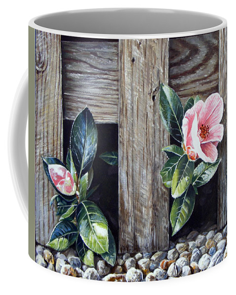 Flower Pink Acrylics Neighbours Fence Wood Leaves Coffee Mug featuring the painting Neighbours by Arie Van der Wijst
