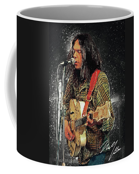 Neil Young Coffee Mug featuring the digital art Neil Young by Zapista OU