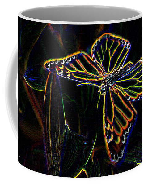 Butterfly Coffee Mug featuring the photograph Neon Butterfly by Tim Allen