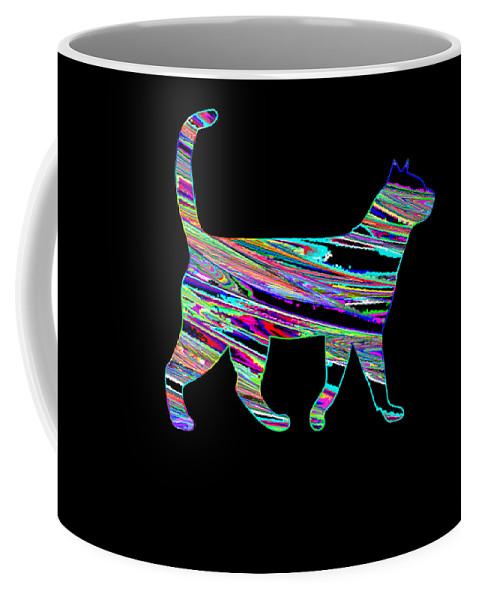Cat Coffee Mug featuring the digital art Neon Cat Cool by Kaylin Watchorn