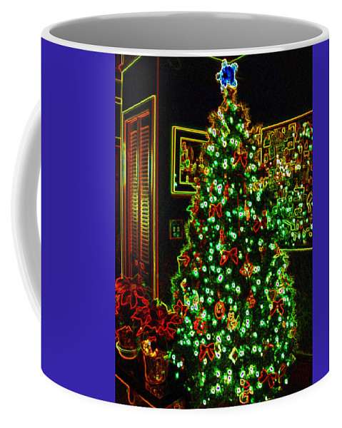 Christmas Coffee Mug featuring the photograph Neon Christmas Tree by Nancy Mueller
