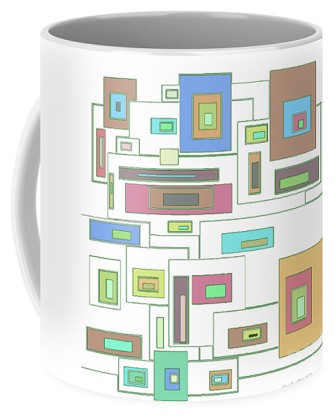 Abstract Coffee Mug featuring the digital art Neon Geometrics 2 by Candice Danielle Hughes