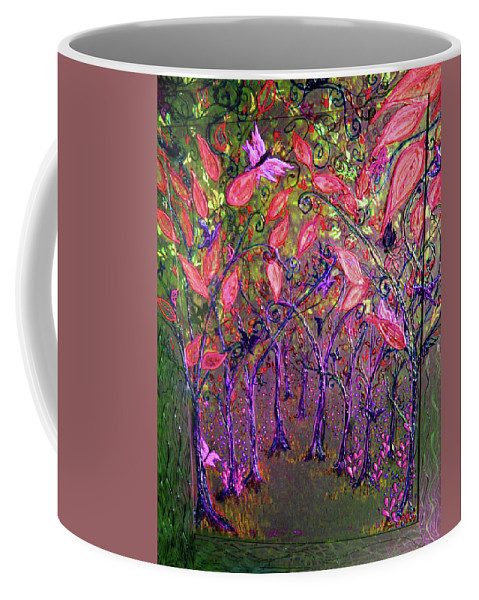 Mixed Media Coffee Mug featuring the mixed media Neon Night In Bloom by Emily Perry