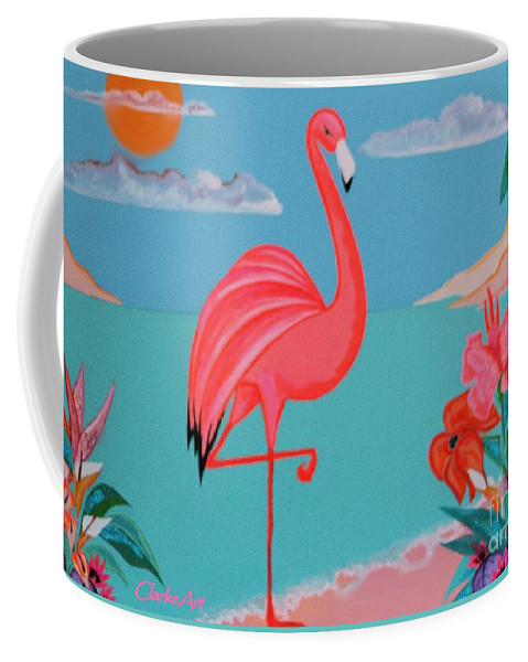 Girls Rooms Coffee Mug featuring the painting Neon Island Flamingo by Jean Clarke