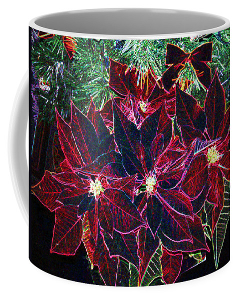 Flowers Coffee Mug featuring the photograph Neon Poinsettias by Nancy Mueller