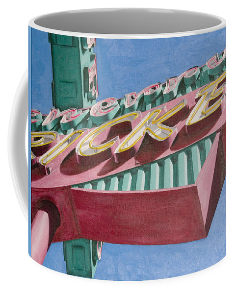 Oil Coffee Mug featuring the painting Neon Sign Cherry Cricket by Rob De Vries