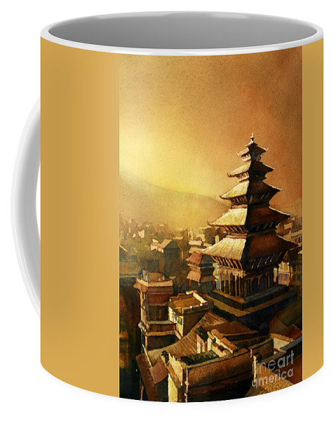 Temple Coffee Mug featuring the painting Nepal Temple by Ryan Fox
