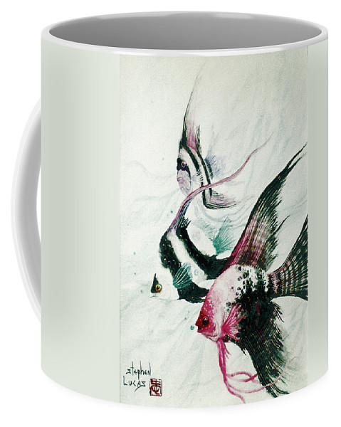 Fish Coffee Mug featuring the painting Neptunes Trio by Stephen Lucas