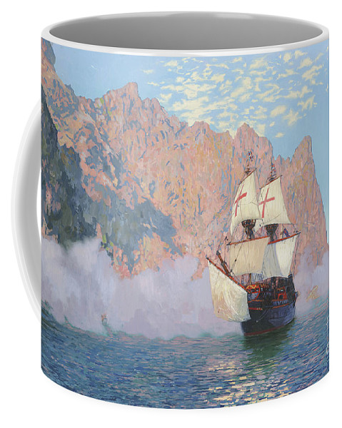 New Albion Coffee Mug featuring the painting New Albion. Sir Francis Drakes Ship by Simon Kozhin