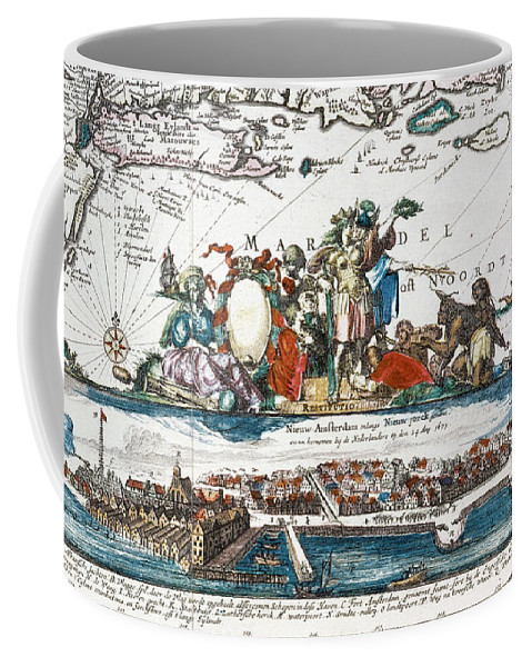 1673 Coffee Mug featuring the photograph New Amsterdam, 1673 by Granger