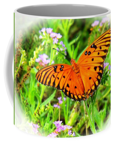 Butterfly Orange Nature Coffee Mug featuring the photograph New Beginnings By Matthew by Matthew Seufer