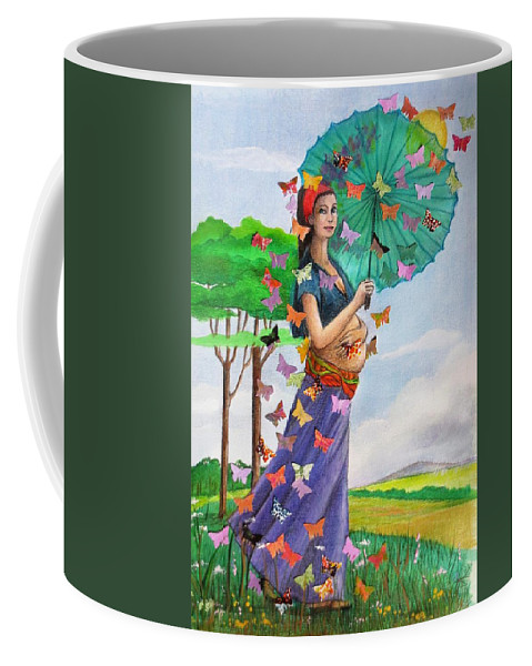 Woman Coffee Mug featuring the mixed media New Beginnings by Fran Garner