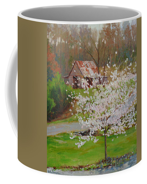Landscape Coffee Mug featuring the painting New Blossoms Old Barn by Keith Burgess