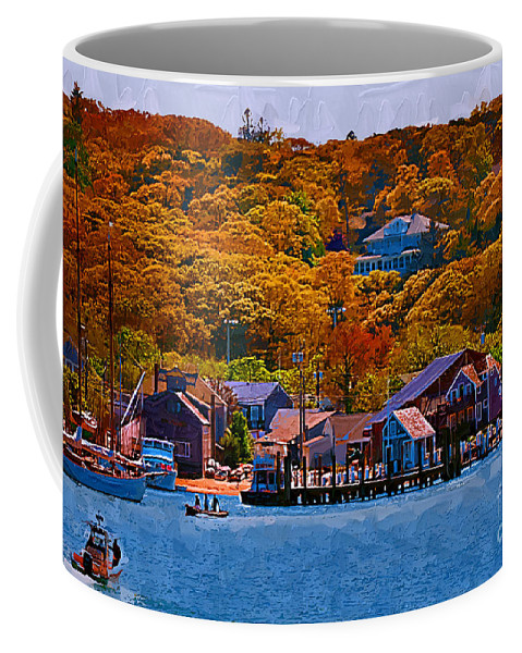 Autumn Coffee Mug featuring the digital art New England Fall Coastline by Kirt Tisdale
