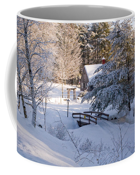 Snow Coffee Mug featuring the photograph New England House And Forest In The Snow by David Thompson