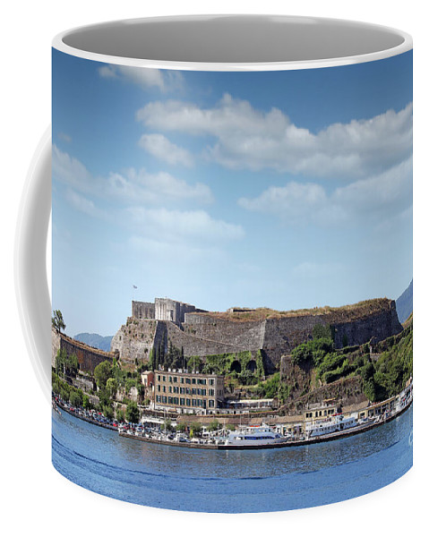 Corfu Coffee Mug featuring the photograph new fortress and port Corfu town Greece by Goce Risteski