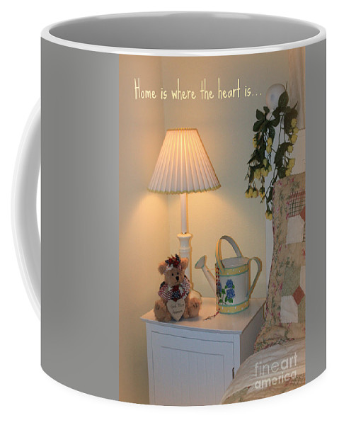 Card Coffee Mug featuring the greeting card New Home Card With Bear by Carol Groenen