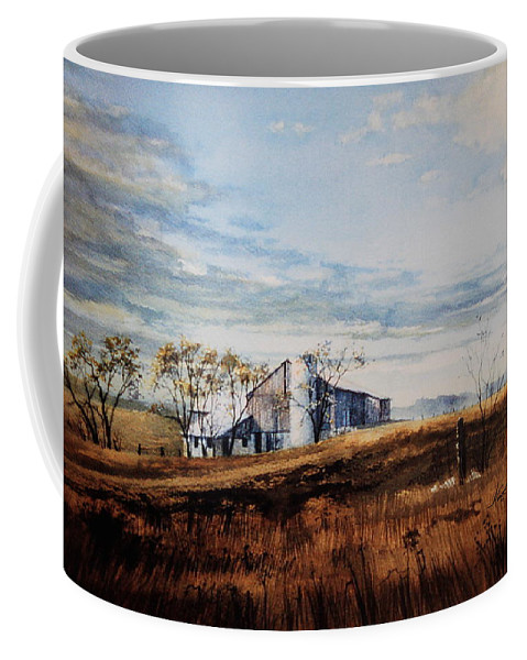 Farm Landscape Coffee Mug featuring the painting New Hope New Dreams by Hanne Lore Koehler
