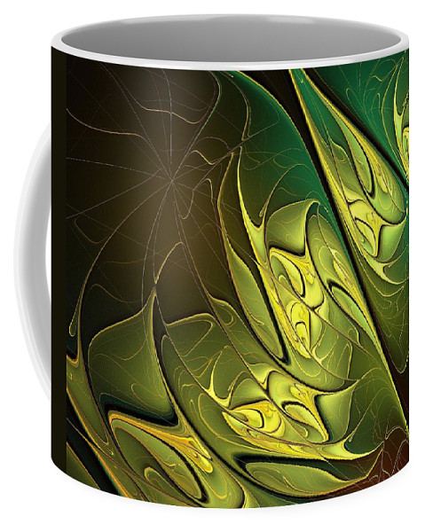 Digital Art Coffee Mug featuring the digital art New Leaves by Amanda Moore