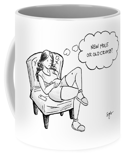 """new Mole Or Old Crumb?"" Coffee Mug featuring the drawing New Mole Or Old Crumb by Sophia Wiedeman"