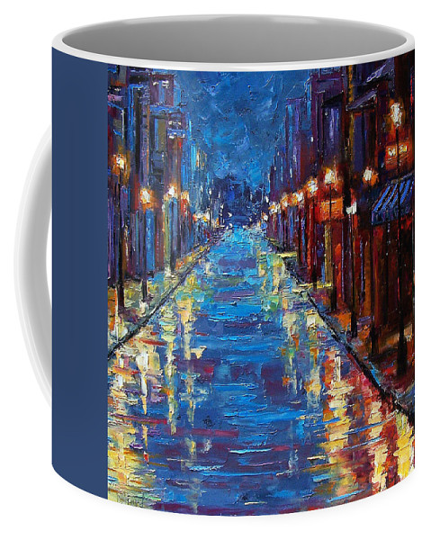 Cityscape Coffee Mug featuring the painting New Orleans Bourbon Street by Debra Hurd