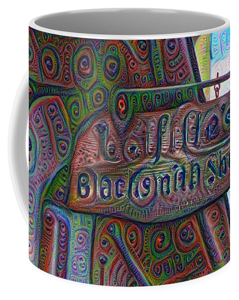 Lafittes Coffee Mug featuring the painting New Orleans - Lafittes Blacksmith Shop Sign by Bill Cannon