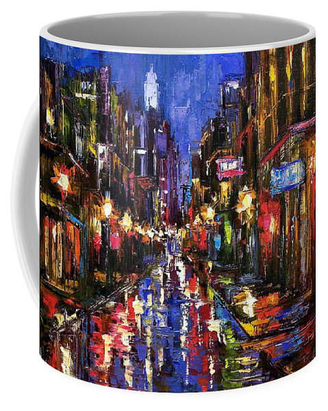 Cityscape Coffee Mug featuring the painting New Orleans Storm by Debra Hurd