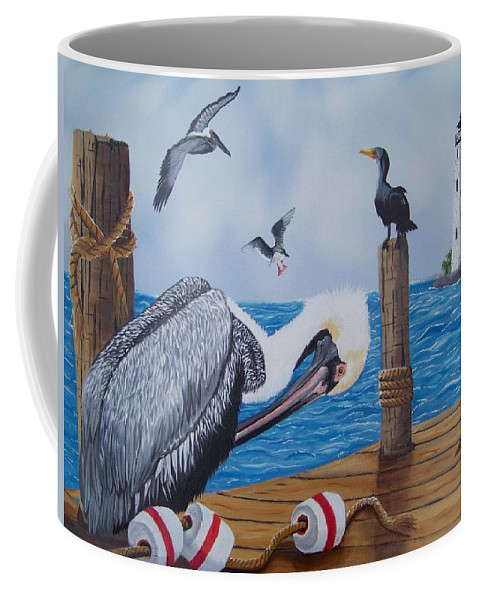 Pelican Coffee Mug featuring the painting New Point Pelican by Debbie LaFrance
