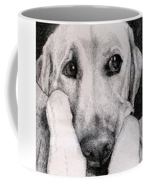 Dog Coffee Mug featuring the drawing Baxter Ponders His Next Move by Lorraine Zaloom