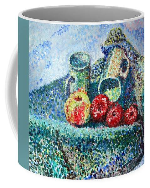 Painted In Dots To Make Up The Colours For The Coffee Mug featuring the painting New Work Painted In Pointillism by Errol Jameson