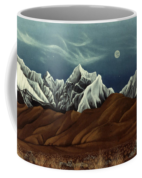 Andes Mountains Coffee Mug featuring the painting New Years Moon Over Cojata Peru by Anastasia Savage Ealy