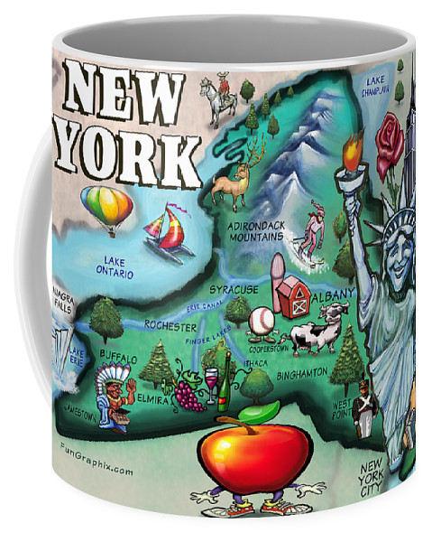 New York Coffee Mug featuring the digital art New York Cartoon Map by Kevin Middleton
