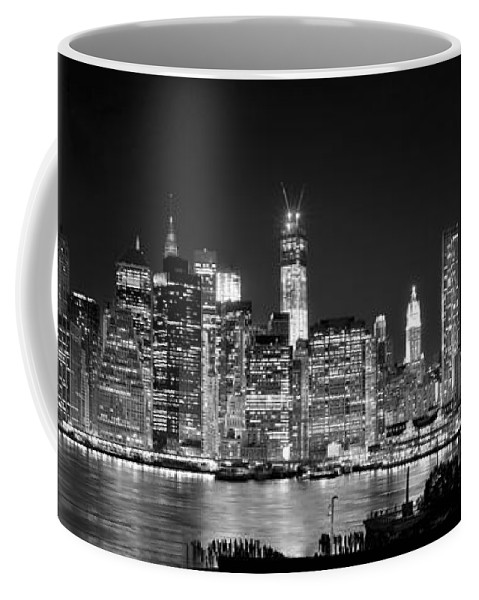 New York City Skyline At Night Coffee Mug featuring the photograph New York City Bw Tribute In Lights And Lower Manhattan At Night Black And White Nyc by Jon Holiday