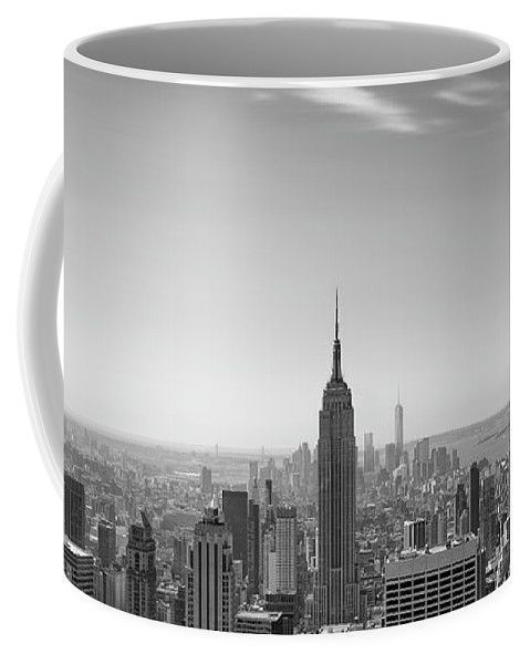 New York City - Empire State Building Coffee Mug featuring the photograph New York City - Empire State Building Panorama Black And White - 2015 Edition by Thomas Richter