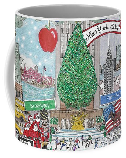 New York City Coffee Mug featuring the mixed media New York City Holiday by Stephanie Hessler