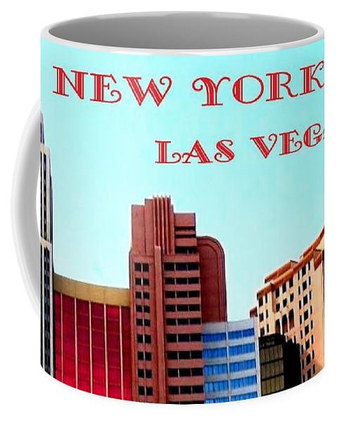 Poster Coffee Mug featuring the digital art New York City- Las Vegas by Will Borden