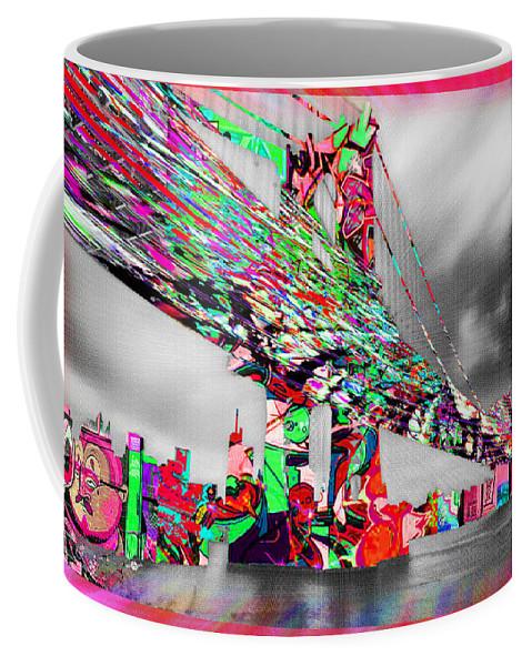Manhattan Bridge Coffee Mug featuring the painting New York City Manhattan Bridge Pure Pop Red by Tony Rubino