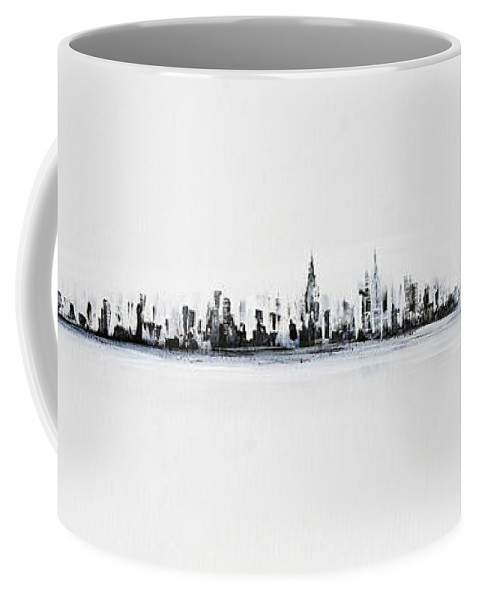 Skyline Coffee Mug featuring the painting New York City Skyline Black And White by Jack Diamond