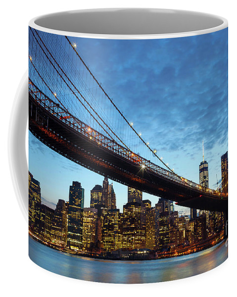 New Coffee Mug featuring the photograph New York City Skyline By Night by Antonio Gravante