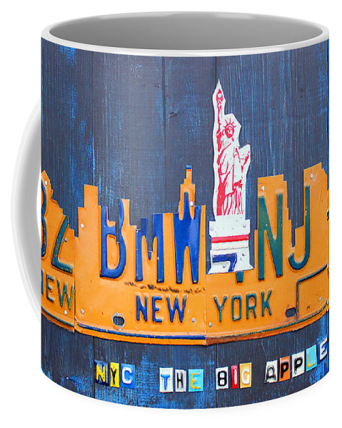 New York Coffee Mug featuring the mixed media New York City Skyline License Plate Art by Design Turnpike