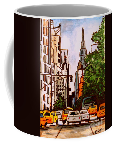 New York Coffee Mug featuring the painting New York City Taxis by Elizabeth Robinette Tyndall