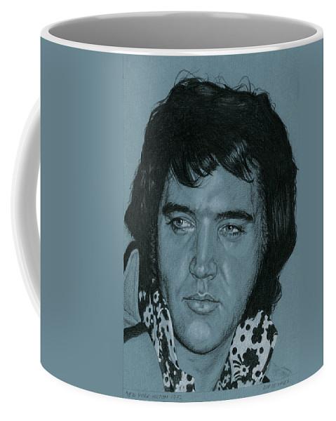 Elvis Coffee Mug featuring the drawing New York Hilton 1972 by Rob De Vries
