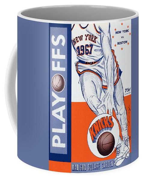 New York Coffee Mug featuring the painting New York Knicks V Boston 1967 Playoff Program by John Farr