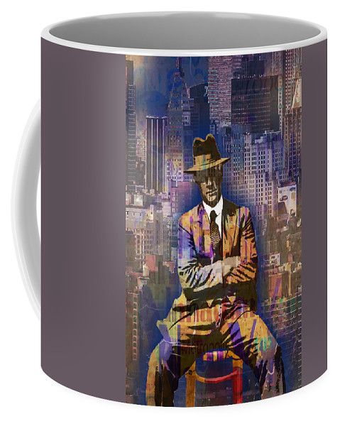 Sky Scraper Coffee Mug featuring the painting New York Man Seated City Background 1 by Tony Rubino