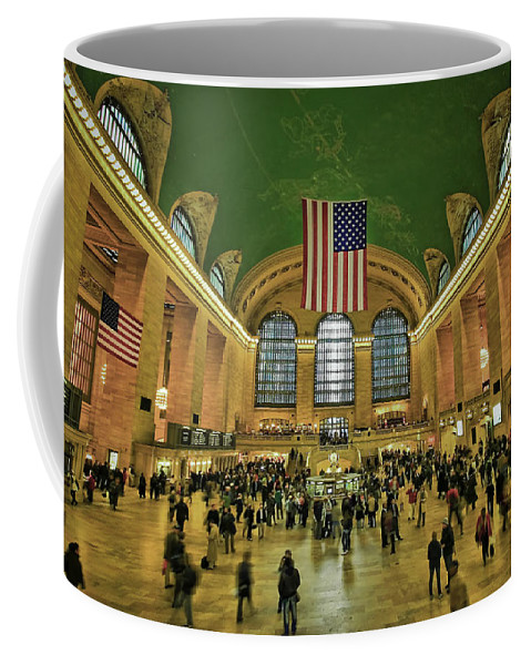 Architecture Coffee Mug featuring the photograph New York Minute by Evelina Kremsdorf